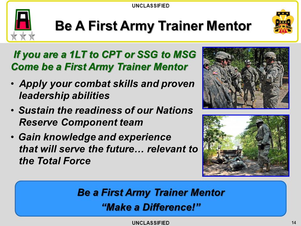 Be A First Army Trainer Mentor