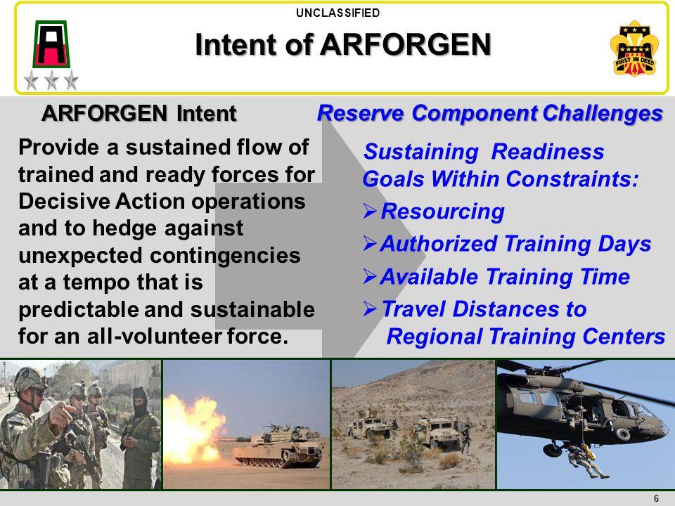 Intent of ARFORGEN ARFORGEN Intent Reserve Component Challenges