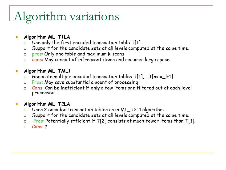 Algorithm variations Algorithm ML_T1LA