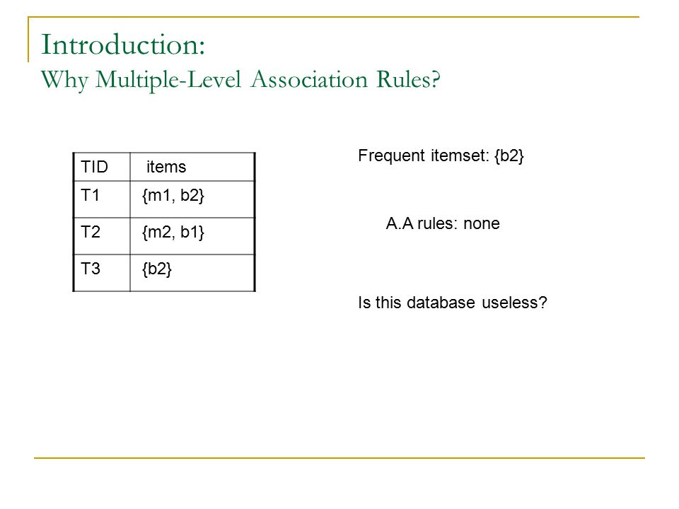 Introduction: Why Multiple-Level Association Rules