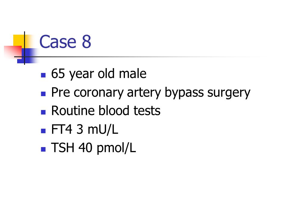 Case 8 65 year old male Pre coronary artery bypass surgery
