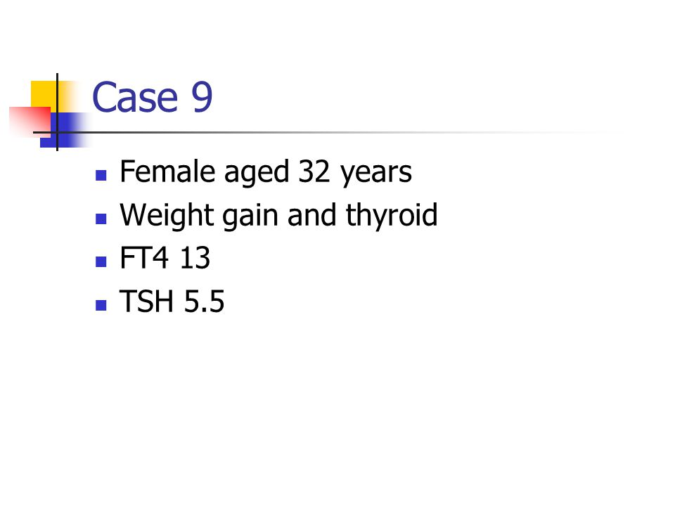 Case 9 Female aged 32 years Weight gain and thyroid FT4 13 TSH 5.5