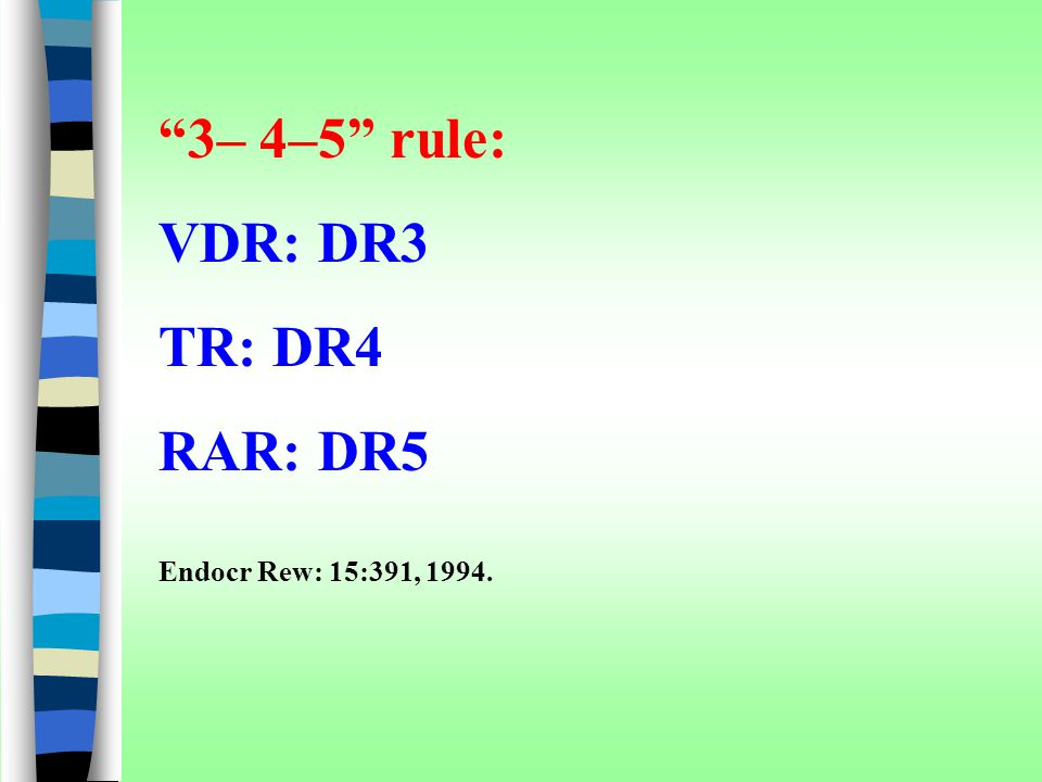 3– 4–5 rule: VDR: DR3 TR: DR4 RAR: DR5 Endocr Rew: 15:391, 1994.