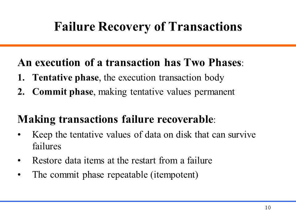 Failure Recovery of Transactions
