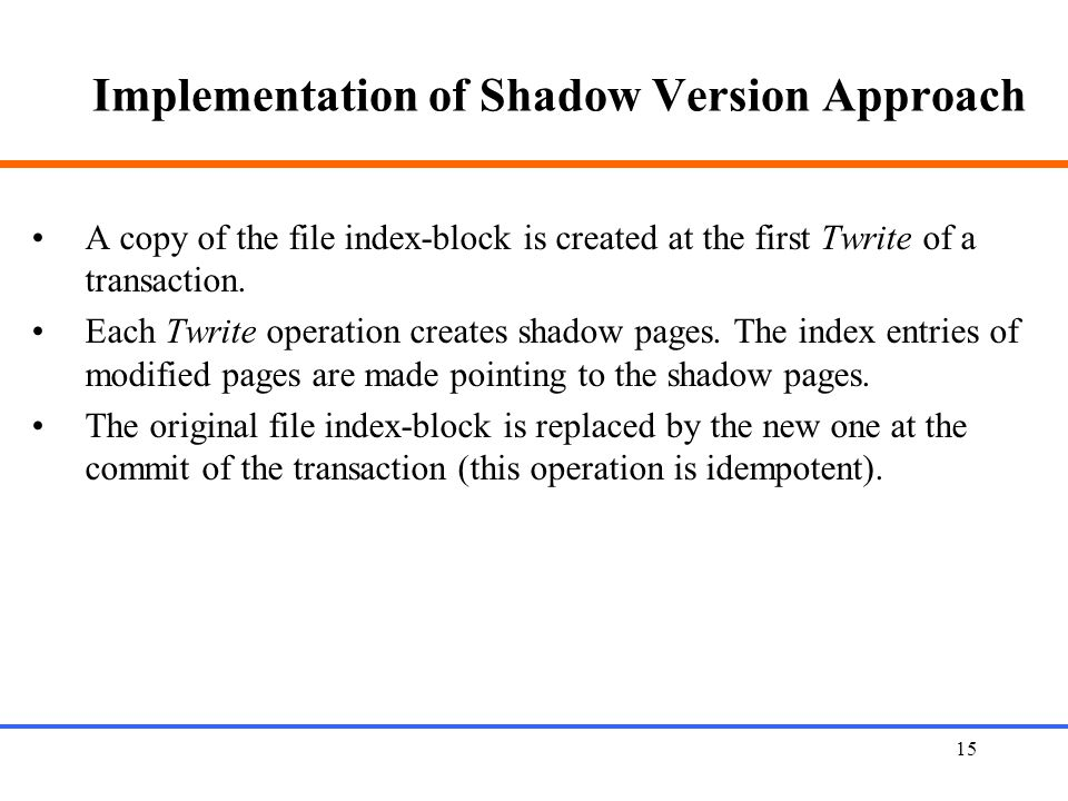 Implementation of Shadow Version Approach