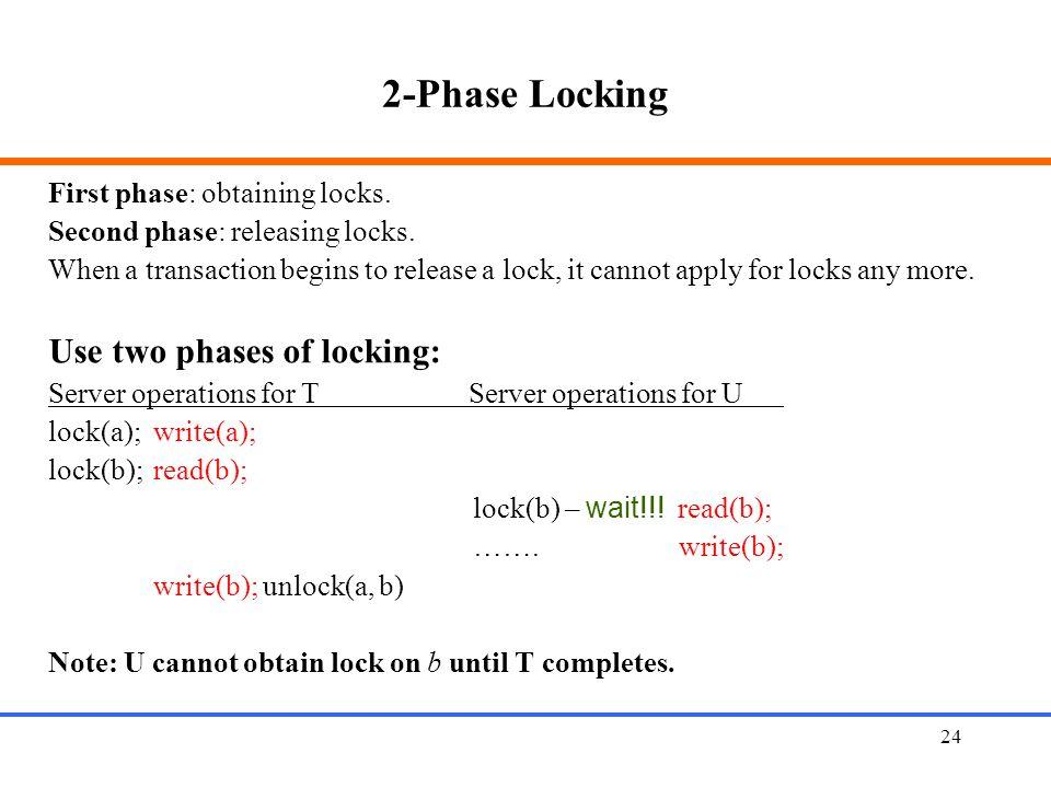 2-Phase Locking Use two phases of locking: