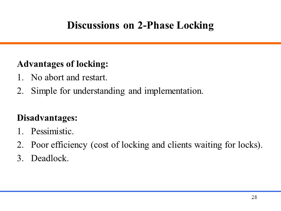 Discussions on 2-Phase Locking