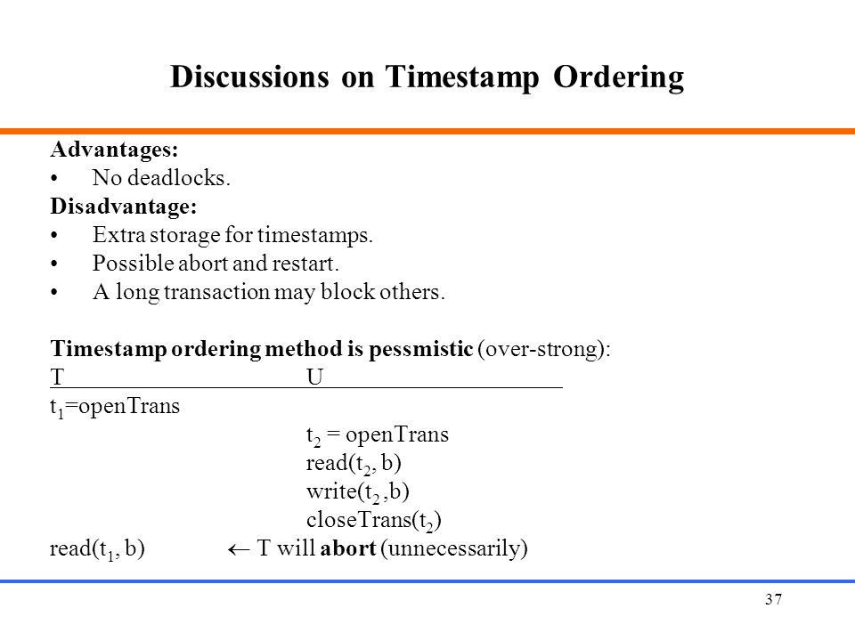 Discussions on Timestamp Ordering