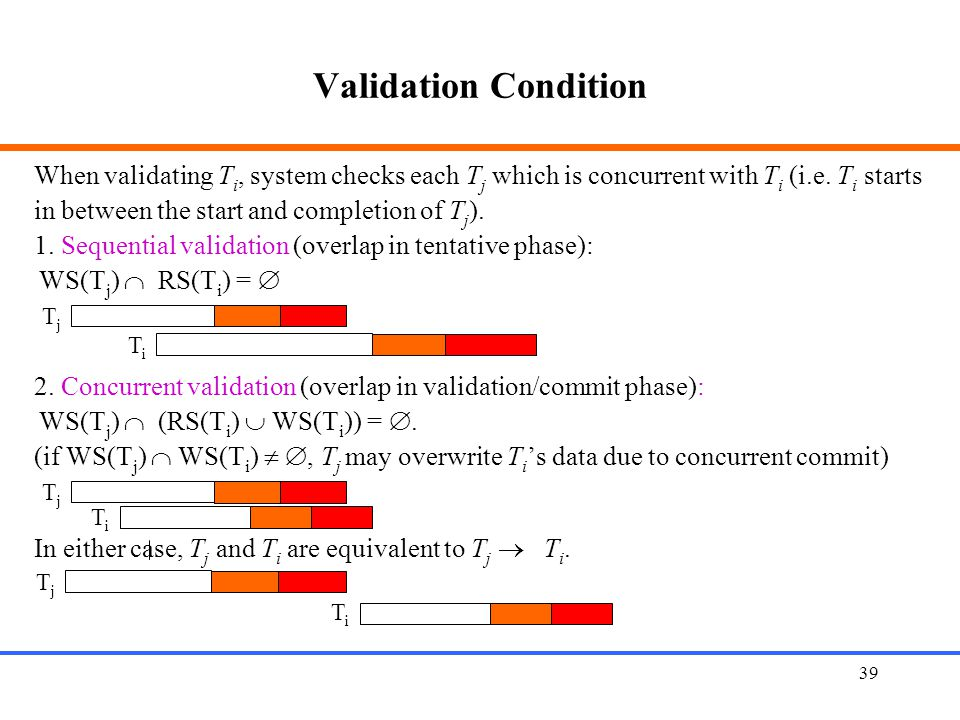 Validation Condition When validating Ti, system checks each Tj which is concurrent with Ti (i.e. Ti starts.