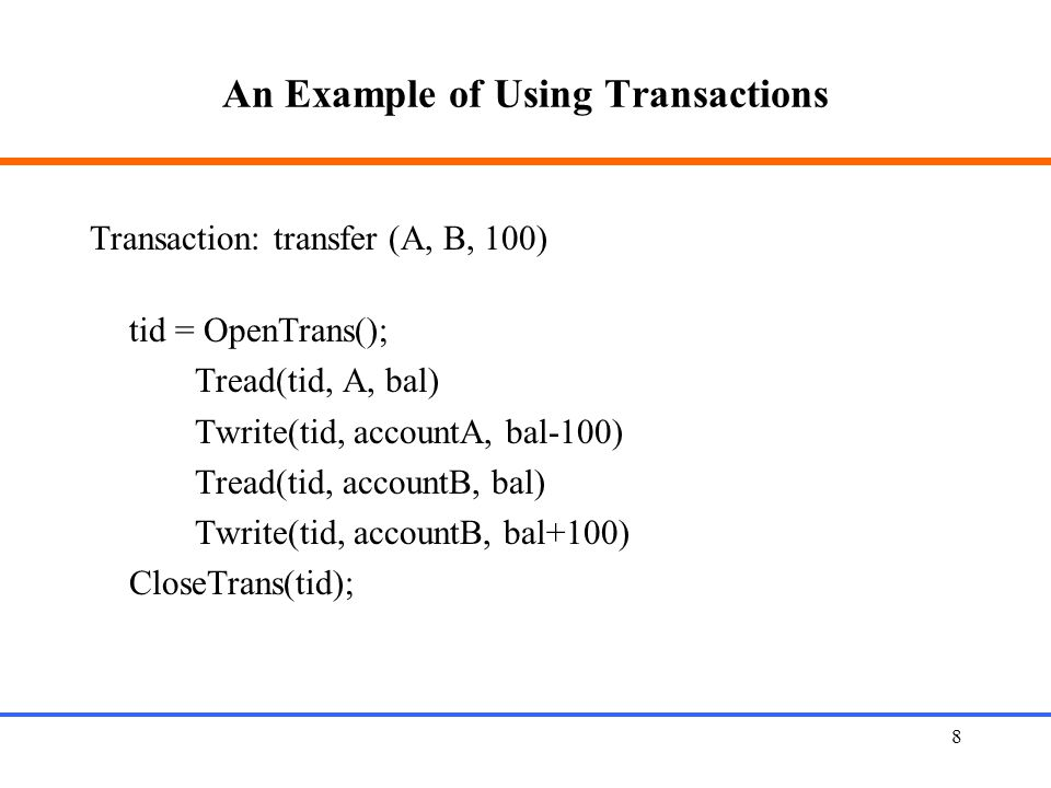 An Example of Using Transactions