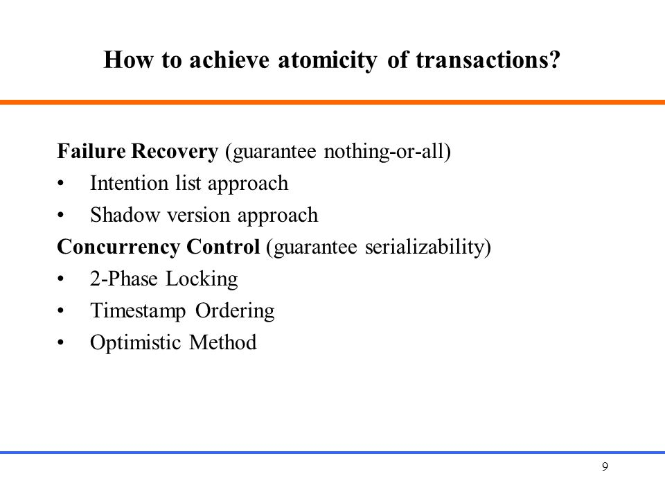 How to achieve atomicity of transactions