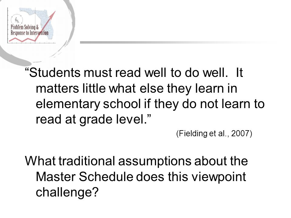 Students must read well to do well