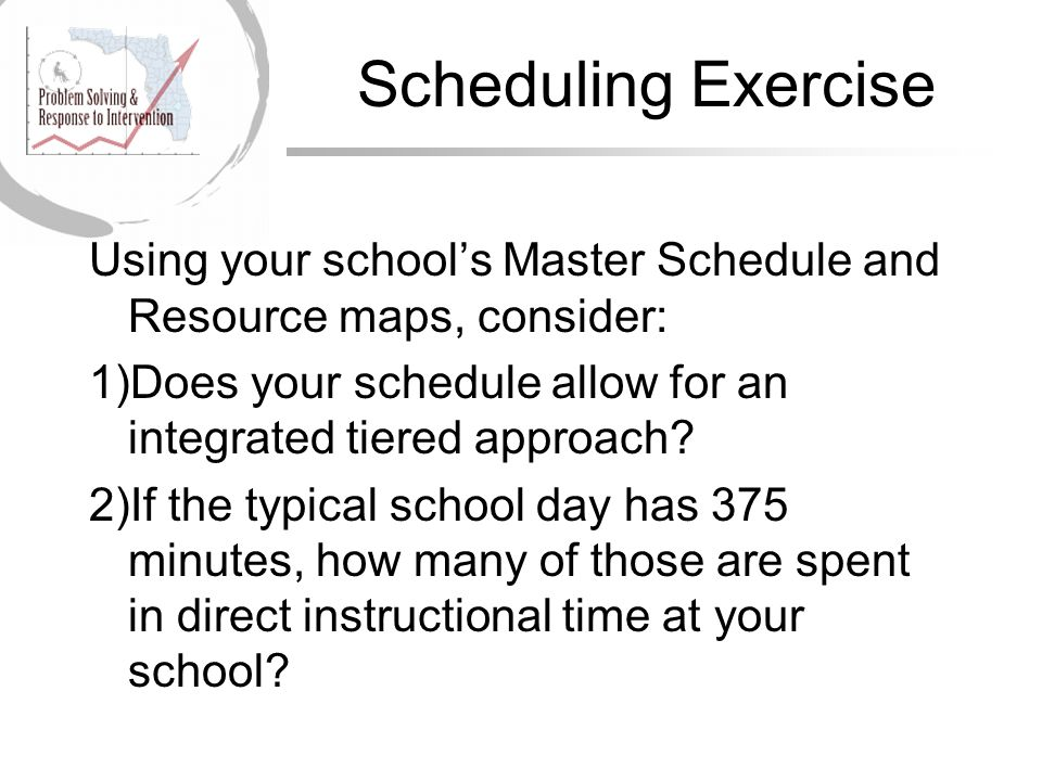 Scheduling Exercise Using your school's Master Schedule and Resource maps, consider: Does your schedule allow for an integrated tiered approach