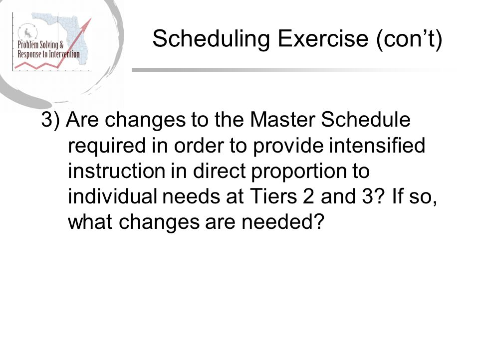 Scheduling Exercise (con't)