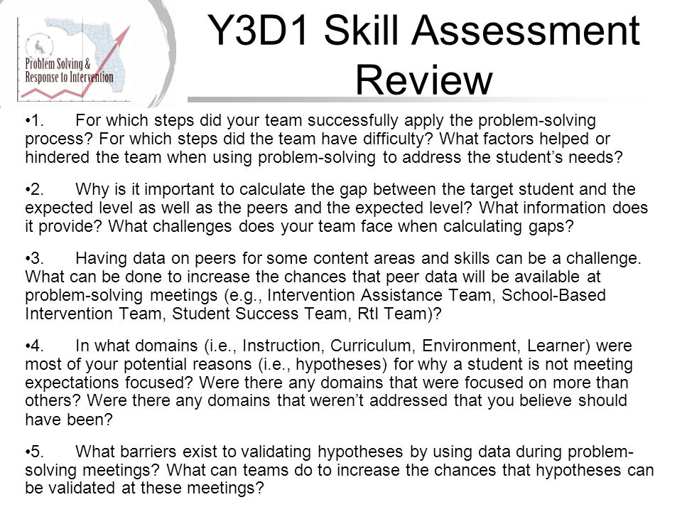Y3D1 Skill Assessment Review