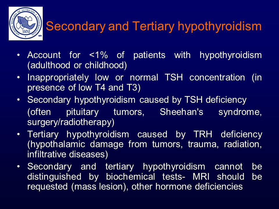 Secondary and Tertiary hypothyroidism