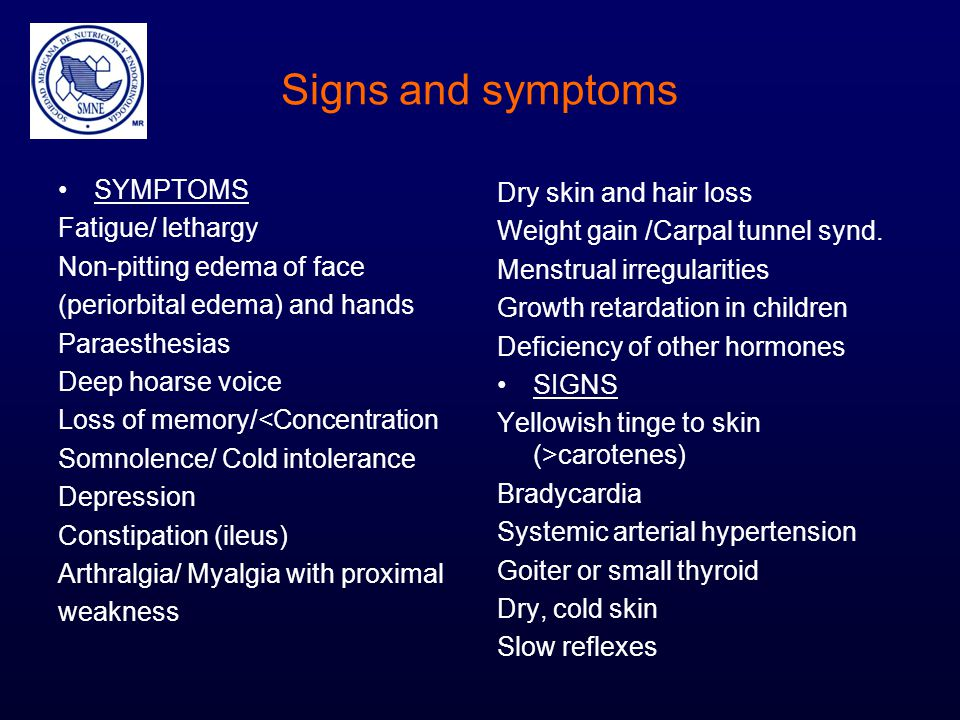 Signs and symptoms SYMPTOMS Fatigue/ lethargy