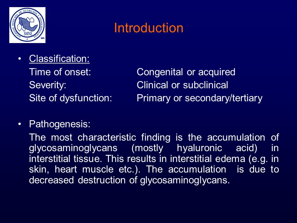 Introduction Classification: Time of onset: Congenital or acquired