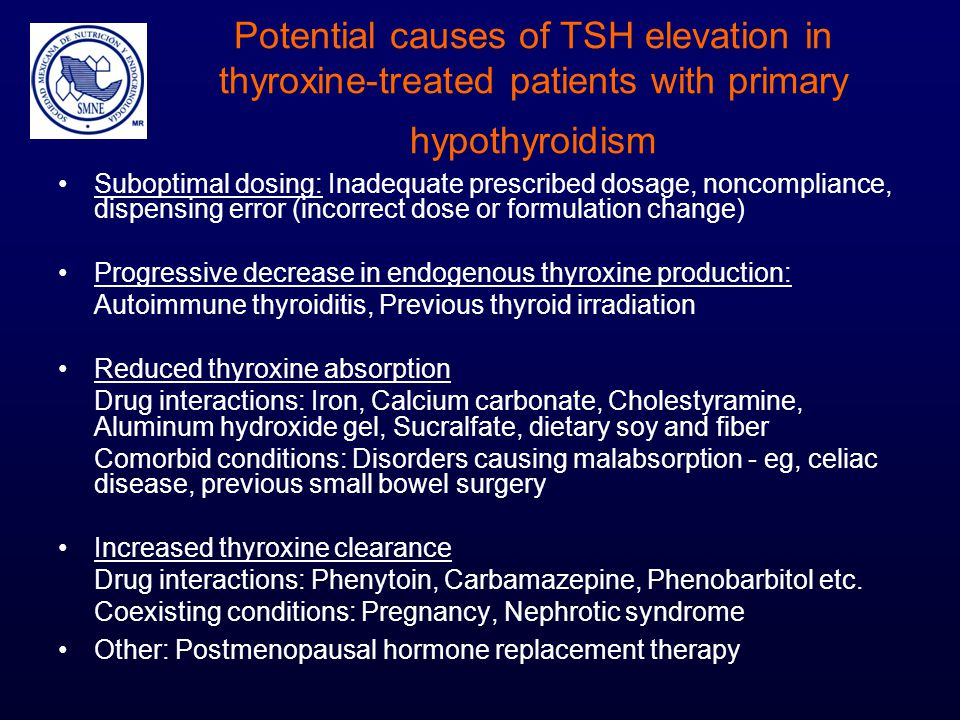 Potential causes of TSH elevation in thyroxine-treated patients with primary hypothyroidism