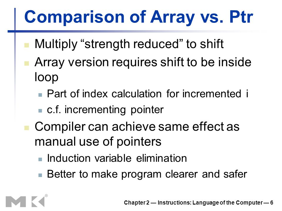 Comparison of Array vs. Ptr