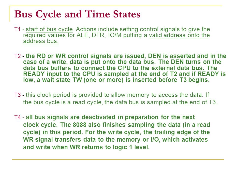 Bus Cycle and Time States