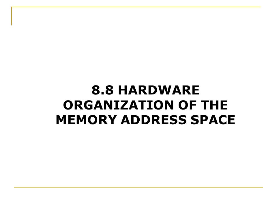 8.8 HARDWARE ORGANIZATION OF THE MEMORY ADDRESS SPACE