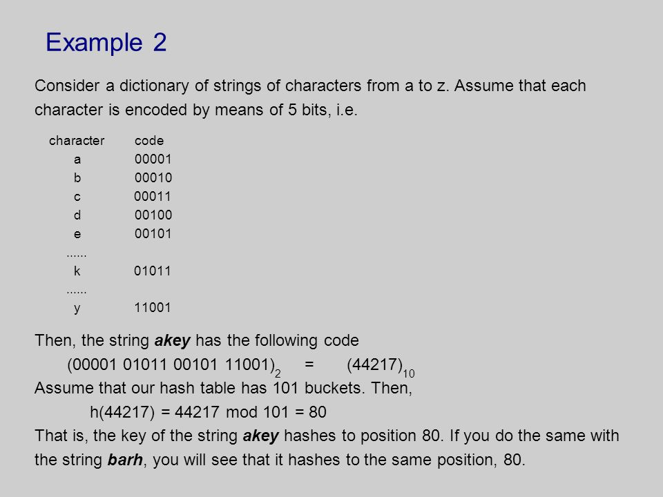 Example 2 Consider a dictionary of strings of characters from a to z. Assume that each. character is encoded by means of 5 bits, i.e.