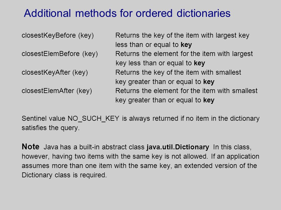 Additional methods for ordered dictionaries