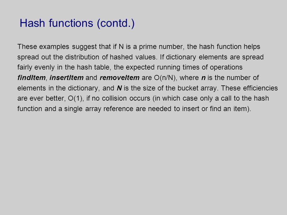 Hash functions (contd.)