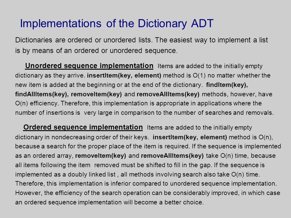 Implementations of the Dictionary ADT
