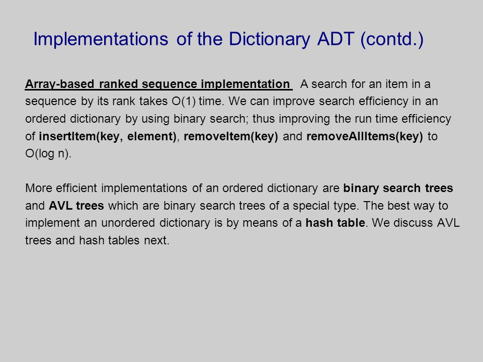 Implementations of the Dictionary ADT (contd.)