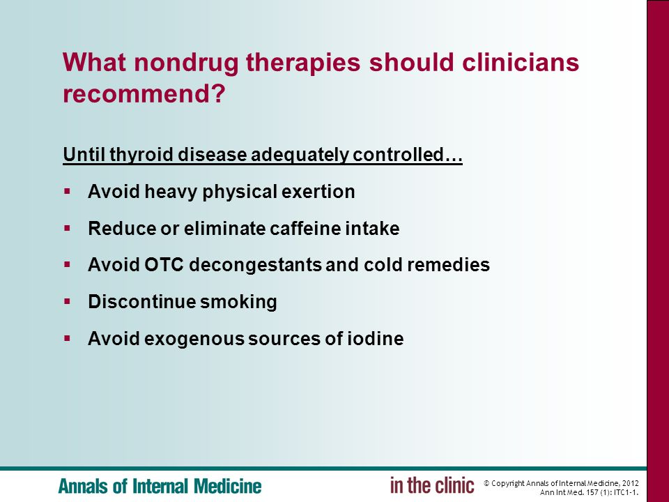 What nondrug therapies should clinicians recommend