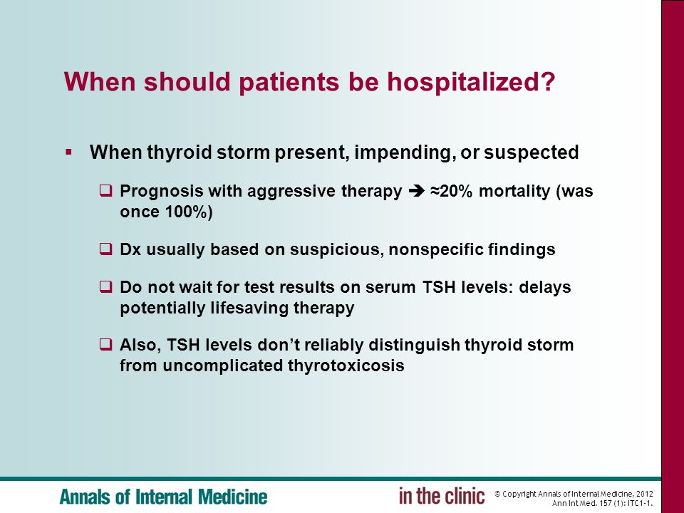 When should patients be hospitalized