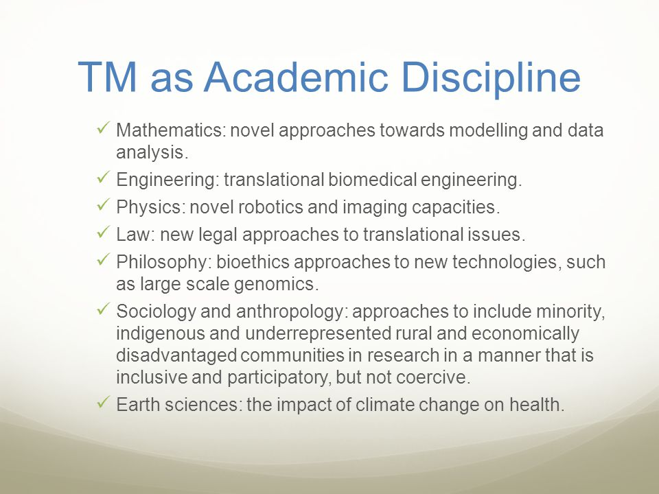 TM as Academic Discipline