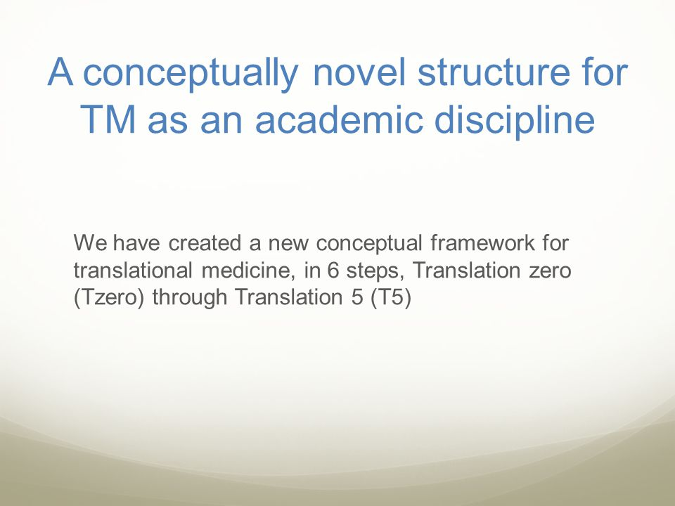 A conceptually novel structure for TM as an academic discipline