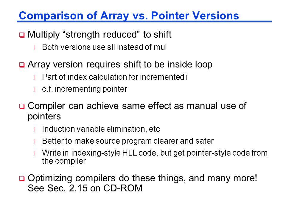 Comparison of Array vs. Pointer Versions