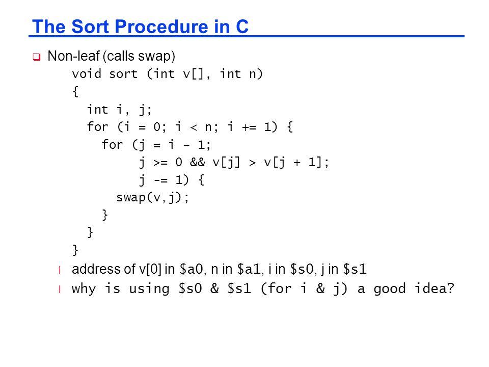 The Sort Procedure in C Non-leaf (calls swap)