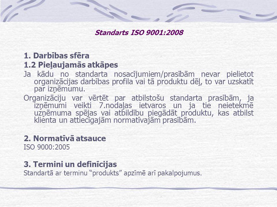 Standarts ISO 9001:2008 1. Darbības sfēra 1.2 Pieļaujamās atkāpes
