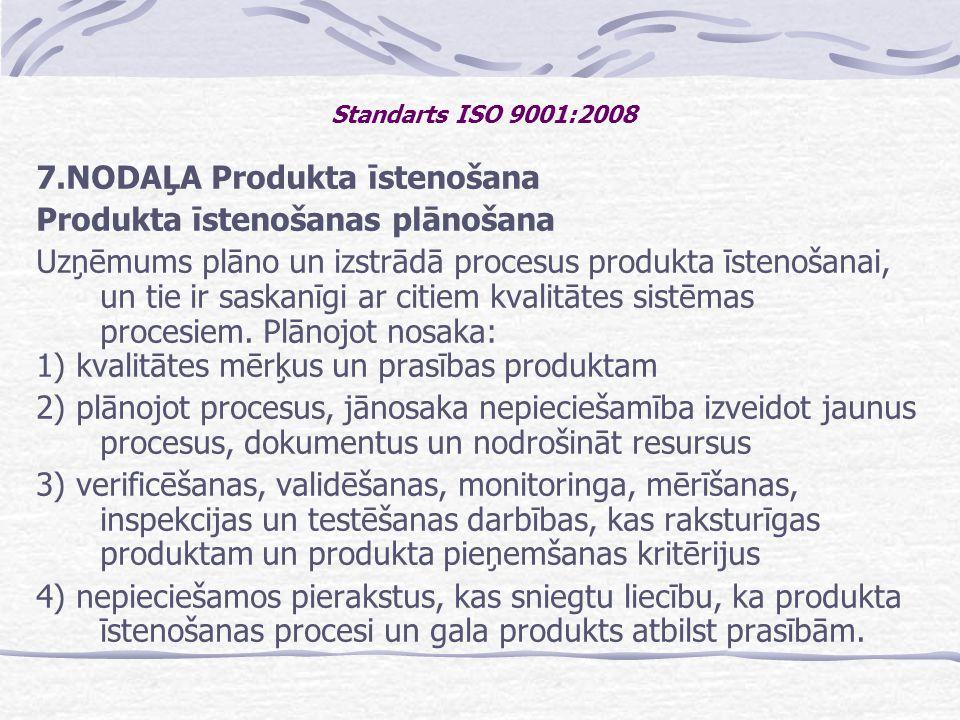 7.NODAĻA Produkta īstenošana Produkta īstenošanas plānošana