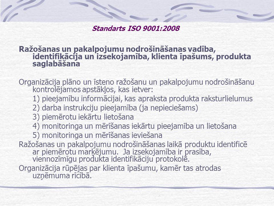 1) pieejamību informācijai, kas apraksta produkta raksturlielumus