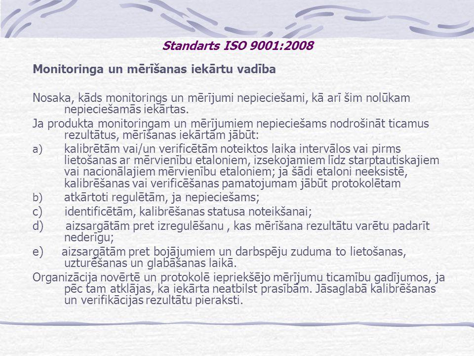 Standarts ISO 9001:2008 Monitoringa un mērīšanas iekārtu vadība.