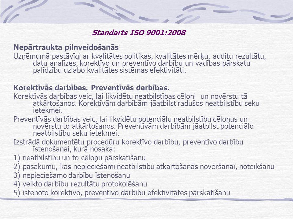Standarts ISO 9001:2008 Nepārtraukta pilnveidošanās.