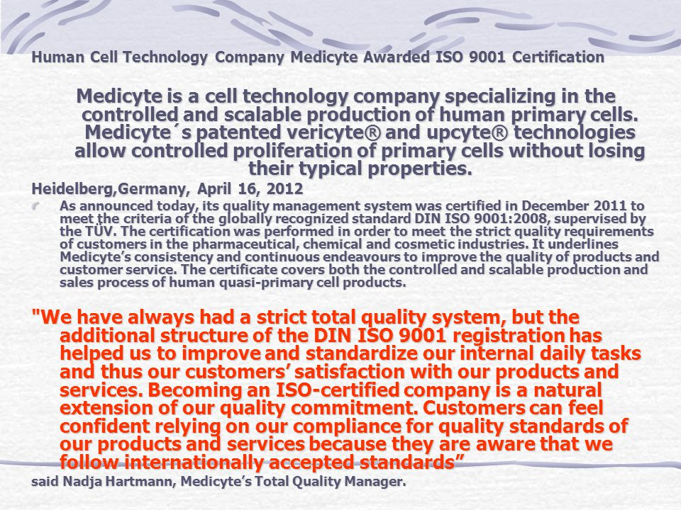 Human Cell Technology Company Medicyte Awarded ISO 9001 Certification