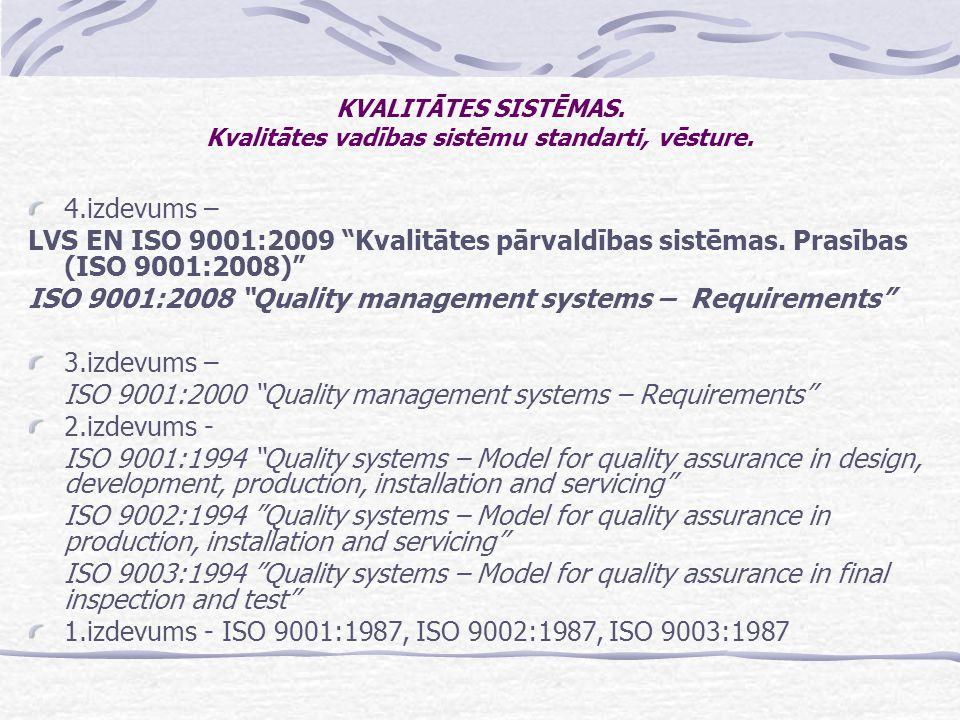 KVALITĀTES SISTĒMAS. Kvalitātes vadības sistēmu standarti, vēsture.