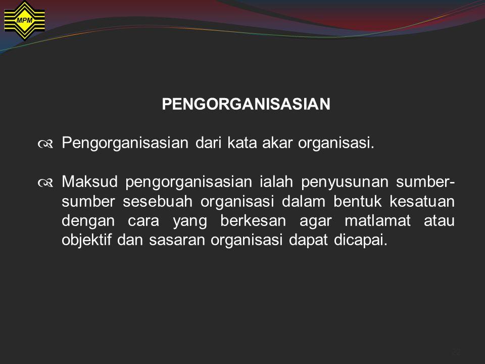 PENGORGANISASIAN Pengorganisasian dari kata akar organisasi.