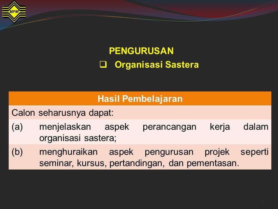 PENGURUSAN Organisasi Sastera. Hasil Pembelajaran. Calon seharusnya dapat: (a) menjelaskan aspek perancangan kerja dalam organisasi sastera;