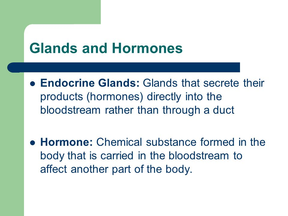 Glands and Hormones Endocrine Glands: Glands that secrete their products (hormones) directly into the bloodstream rather than through a duct.