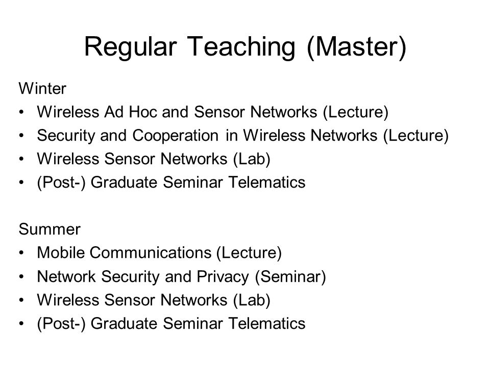 Regular Teaching (Master)