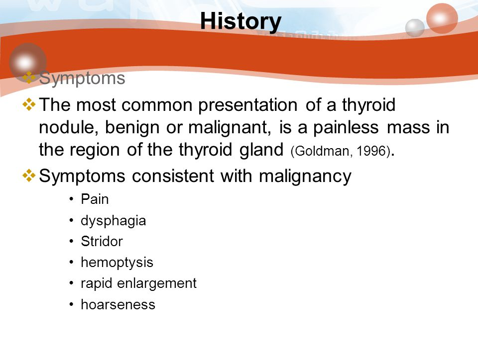 History Symptoms.