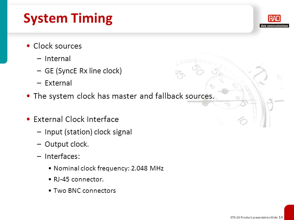 System Timing Clock sources